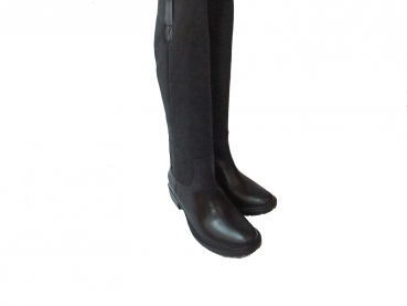 Shoes-More Buffalo Boots Stiefel Leder mit Fell Cow Crust 1000-30 black 01