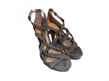Shoes-More By Sinella Damen Sling Sandale Velourleder LOUISE 80251-0004 grau