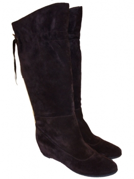 Shoes-More Cafe Noir Damen Stiefel Wildleder SG41 dunkelbraun