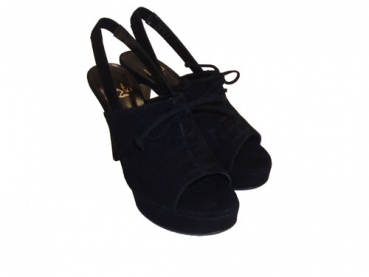 Shoes-More Festa Damen Sling Sandalen Velourwildeder 9395 schwarz